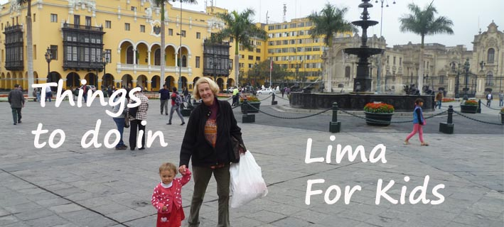 grandmother visiting the Plaza de Armas of Lima, Lima With Kids Lima for Kids, Peru Family Travel